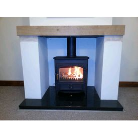 Clearview Vision 500 on a black polished granite hearth