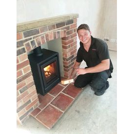 Stovax Riva 40 FS in our brick built fireplace