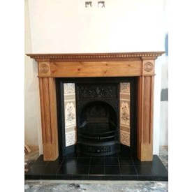 Open cast iron fire with tiles